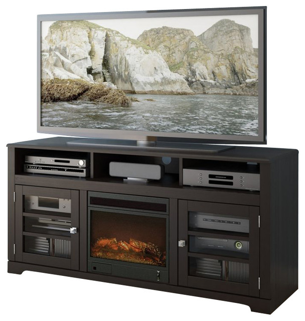 Sonax West Lake 60 Fireplace Tv Stand In Mocha Black Modern Indoor Fireplaces