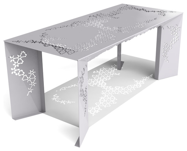 Ricami Modern Metal Designer Dining Table Aviator Grey  : contemporary dining tables from www.houzz.co.uk size 640 x 516 jpeg 47kB