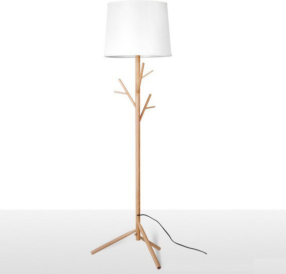 modern simple wooden and fabric shade floor lamp contemporary table lamps. Black Bedroom Furniture Sets. Home Design Ideas
