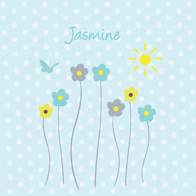 Tableau personnalisable fleurs de printemps bleu - Tableau enfant personnalisable ...