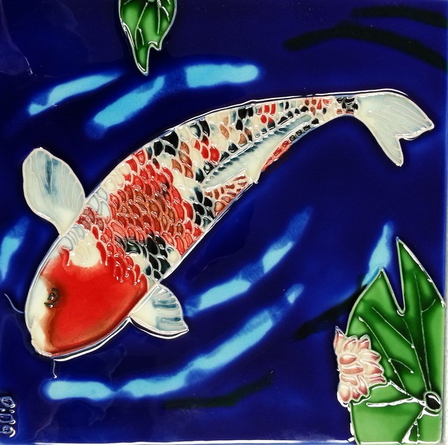 Koi fish blue background tile asian wall decor by for Koi wall decor