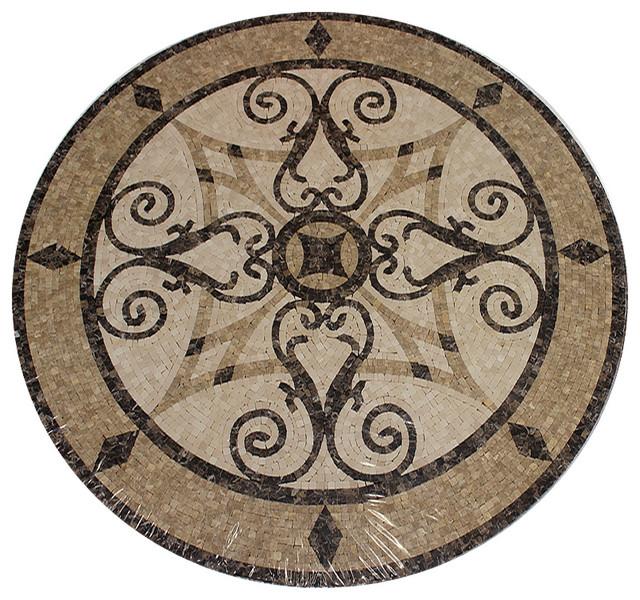 Floor Medallions Inlays : Mosaic honed floor medallions tile medallion marble inlay