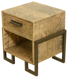 Industrial Style Rustic Solid Wood & Iron Bedside End Table With Drawer - Side Tables And End ...