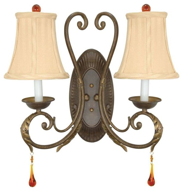 Wall Sconces With Fabric Shades : Nuvo Lighting Cortina 2 Light Wall Sconce with Fabric Shades - Traditional - Wall Sconces - by ...