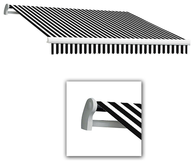 Awntech Projection Black/White Striped Slope Patio Retractable Manual Awning - Contemporary ...