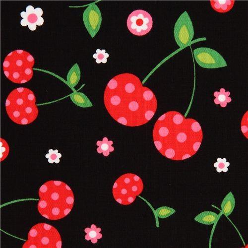 Black Cherry And Flower Fabric By Robert Kaufman Fabric