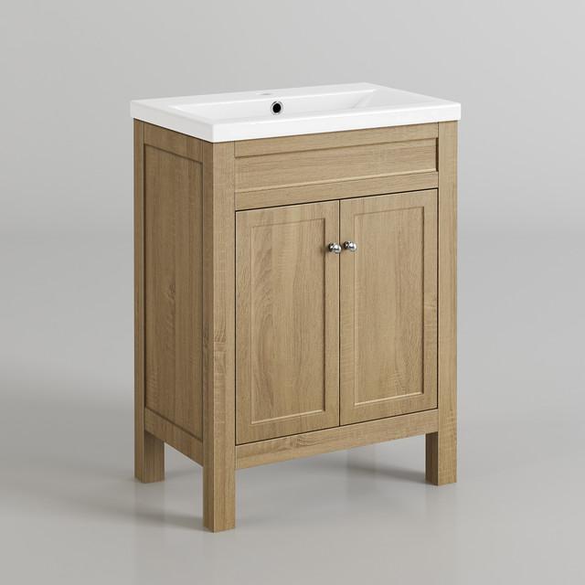 600mm Melbourne Ivory Double Door Vanity Unit Floor Standing Contemporary