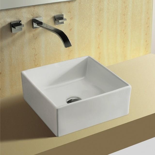 Unique Square White Ceramic Vessel Bathroom Sink By