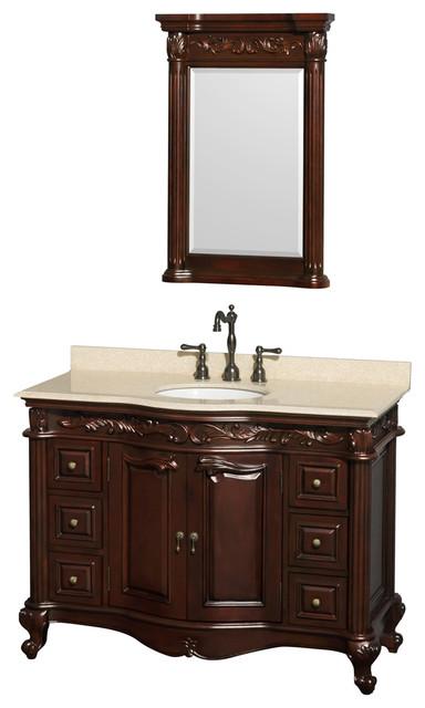 Wyndham Collection Edinburgh 48 Cherry Ivory Marble Countertop Victorian Bathroom Vanity
