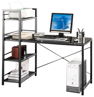 Techni mobili glass desk w built in shelves in grey modern desks and hutches by beyond stores - Staircases with integrated bookshelves ...