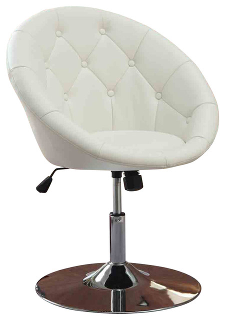 Faux leather tufted swivel adjustable air lift dining for Swivel dining chairs modern