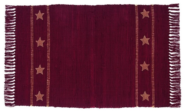 Burlap woven rug wine burlap star rustic rugs by for Decor international handwoven rugs