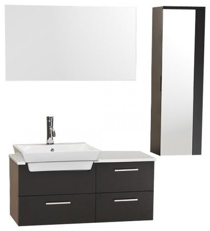 Fresca Caro Espresso Modern Bathroom Vanity With Mirrored Side Cabinet Contemporary Bathroom