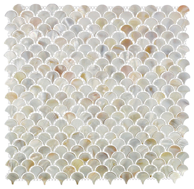 Scales mother of pearl tile full sheet coastal mosaic tiles by