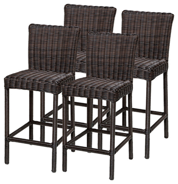 4 Rustico Barstools w Back Tropical Outdoor Bar Stools And Counter Stool