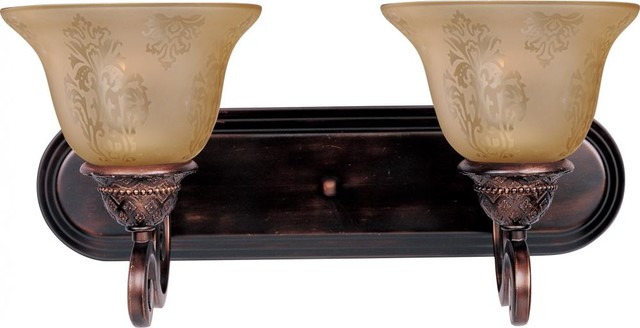 Tropical Bathroom Vanity Lights : Two Light Oil Rubbed Bronze Screen Amber Glass Vanity - Tropical - Bathroom Vanity Lighting - by ...