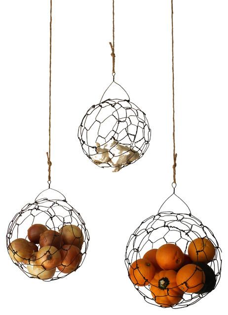 Handmade Hanging Fruit Basket : Handmade hanging wire fruit or vegetable sphere basket