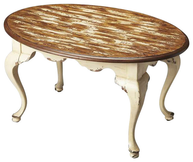 Butler Oval Cocktail Table Farmhouse White Coffee Tables By