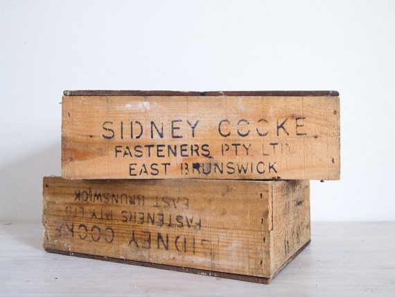 Vintage industrial wooden crate sidney cook by epoch co for Decor containers coles