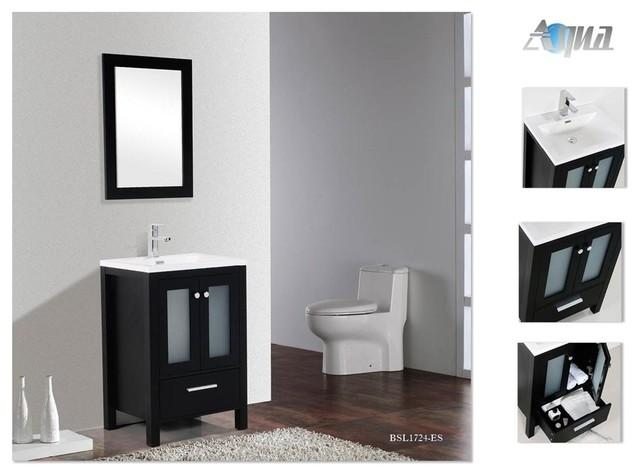 Brezza 24 modern bathroom vanity w frosted glass doors - Bathroom vanity with frosted glass doors ...