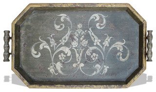 Old World Tuscan Accessory Tray Hexagon, Pearl Green Distressed And ...