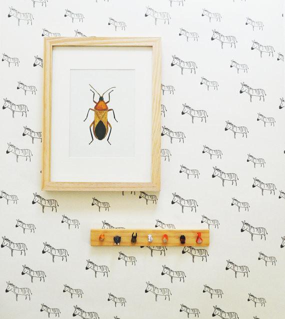 Removable Wallpaper, Zebra Print By Kate Zaremba Company