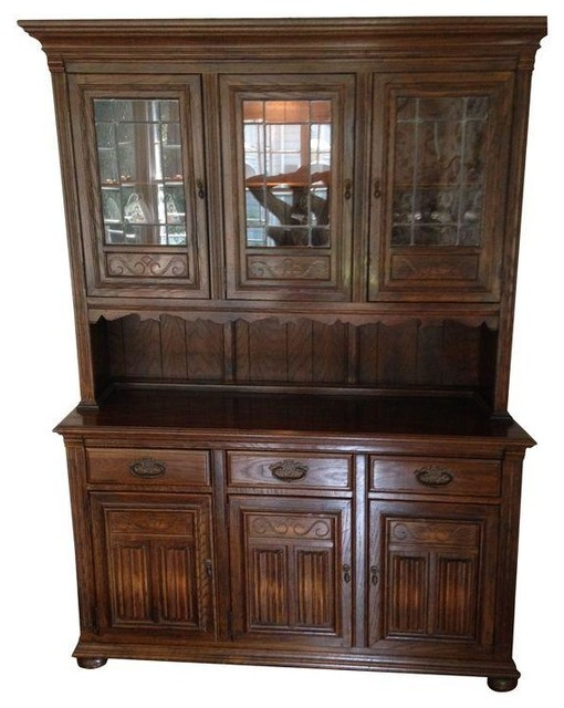 Ethan Allen Royal Charter Oak China Cabinet - Transitional - China Cabinets And Hutches - by ...