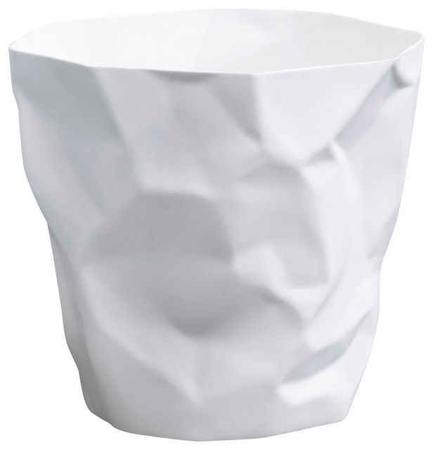 Cumpled paper wastebasket white contemporary for White ceramic bathroom bin