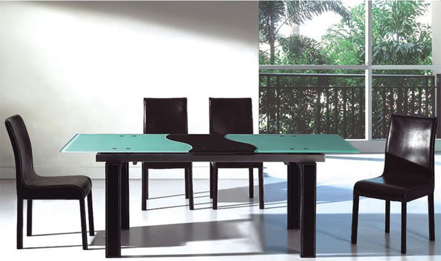 extendable frosted glass top leather five piece dining set