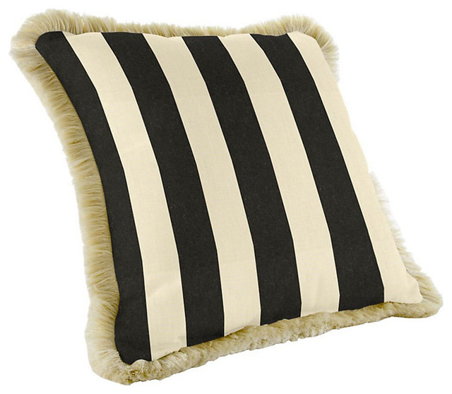 Modern Outdoor Pillows And Cushions : Ballard Designs Fringed Pillow - 20 inch square Canopy Stripe - Contemporary - Outdoor Cushions ...