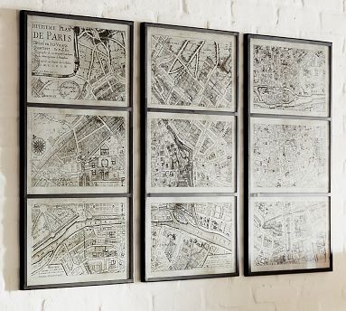 Framed Paris Map Prints Traditional Artwork By