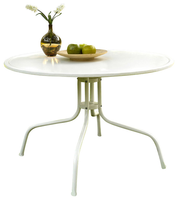 Crosley furniture griffith metal 40 inch dining table in for White metal outdoor dining table