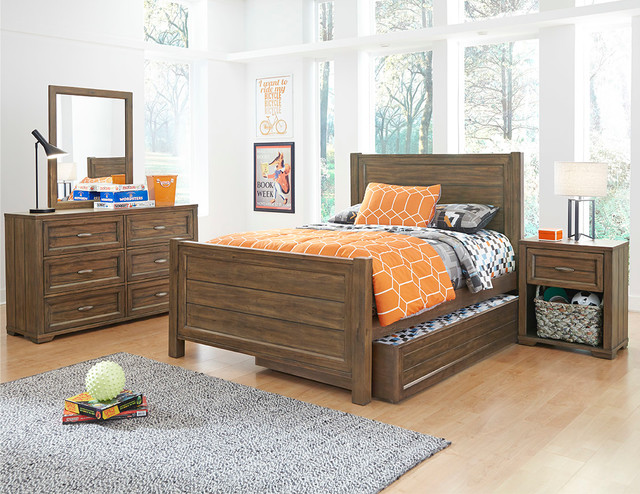 My Home Logan Four Piece Bedroom Set In Driftwood Grey Contemporary Children 39 S Beds By