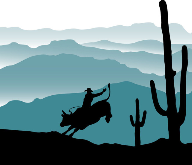Cowboy bull ride wall mural contemporary wall stickers for Cowboy wall mural