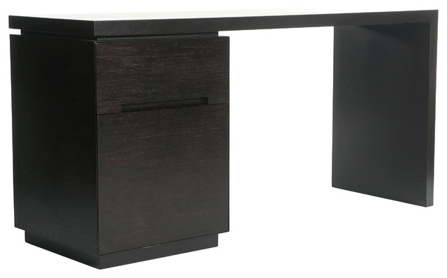 """""""Metro"""" Desk With Filing Cabinet, Espresso - Transitional ..."""