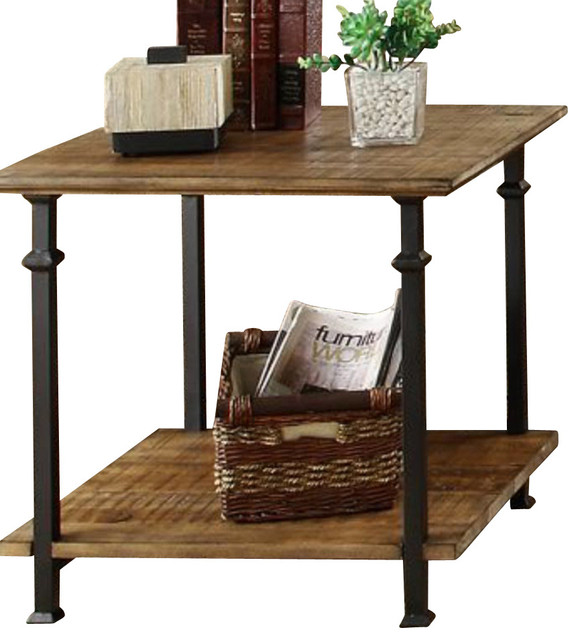 Homelegance factory rectangular end table with wrought for Square wrought iron coffee table