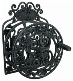 Elegant Floral Verdigris Patina Wall Mounted Cast Iron Hose Reel - Eclectic - Garden Hose Reels ...