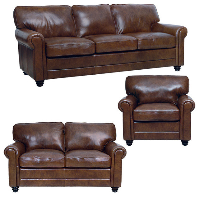genuine italian leather sofa loveseat and chair in havana brown traditional living room. Black Bedroom Furniture Sets. Home Design Ideas