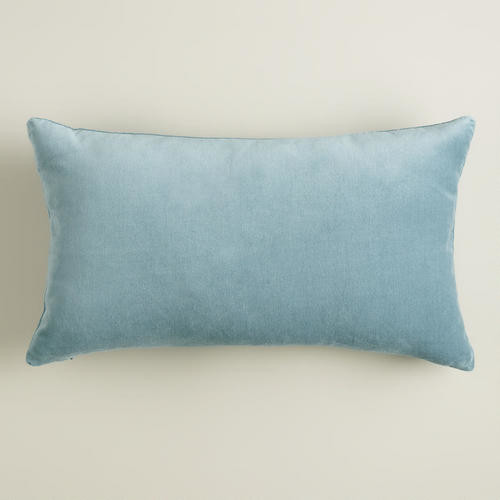 Steel Blue Velvet Lumbar Pillow - Decorative Pillows - by Cost Plus World Market