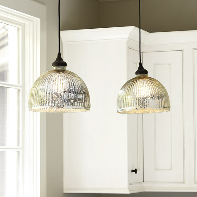 Hanging Can Lights: Mercury Glass Pendant Shade Adapter