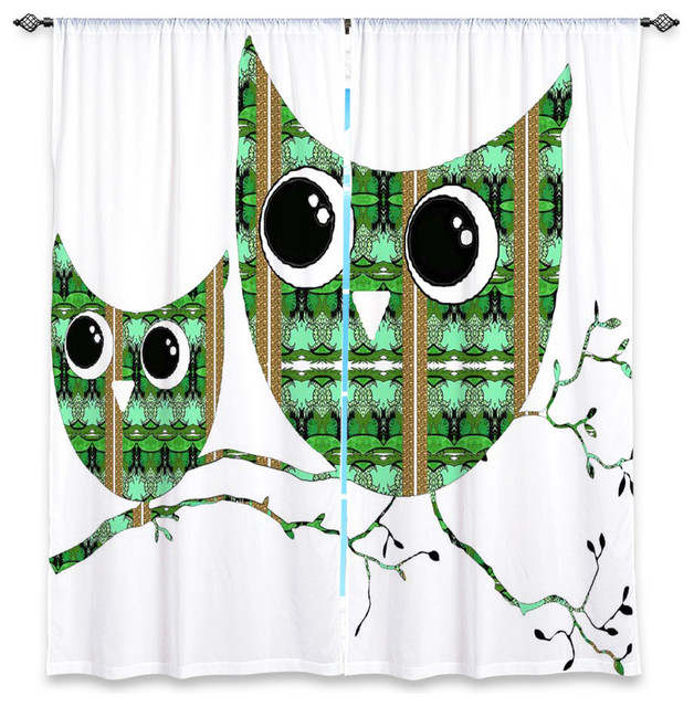 Lined window curtains by susie kunzelman owl suspenders green brown