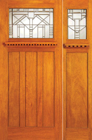 Mahogany craftsman style prehung door and sidelite leaded for Arts and crafts style front door