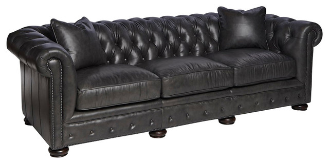 charcoal grey leather sofa traditional sofas by silver coast company. Black Bedroom Furniture Sets. Home Design Ideas