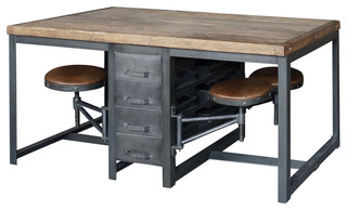 brixton table industrial dining tables by marco polo imports