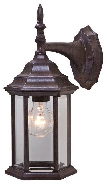 Exterior Wall Sconces Traditional : One Light Burled Walnut Wall Lantern traditional-outdoor-wall-lights-and-sconces