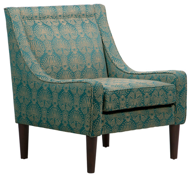 Scarlett Swoop Arm Chair Teal Gold Midcentury Armchairs