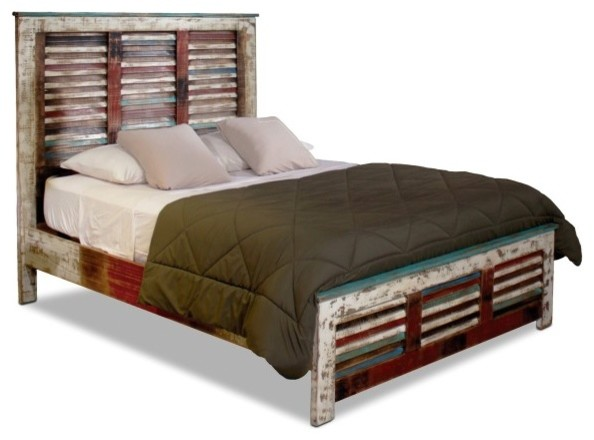 Solid Wood Distressed Bed Queen Beach Style Panel Beds By Crafters Weavers