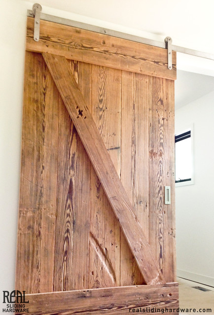 Barn door installations rustic other metro by real for Real carriage hardware