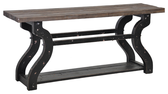 Satur reclaimed boat wood console table contemporary
