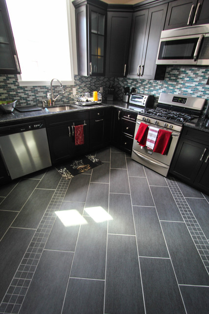 Diagonal gray floor tile detail contemporary kitchen for Grey kitchen floor tiles ideas